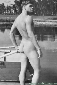 Sweet boy naked near the river
